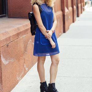 NWTs W by WORTH • Blue Black Mesh Pocket Dress